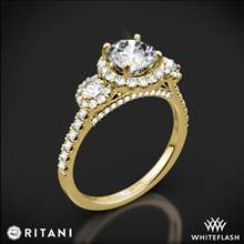 18k Yellow Gold Ritani 1RZ1326 Halo Three Stone Engagement Ring | Whiteflash