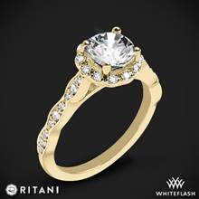 18k Yellow Gold Ritani 1RZ1504 Diamond Halo Engagement Ring | Whiteflash