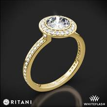 18k Yellow Gold Ritani 1RZ1694 Vintage Halo Micropave Halo Diamond Engagement Ring | Whiteflash