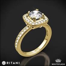 18k Yellow Gold Ritani 1RZ1698 Vintage Cushion Halo Diamond Engagement Ring | Whiteflash
