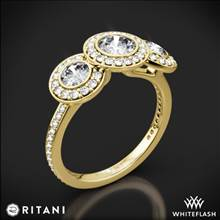 18k Yellow Gold Ritani 1RZ1702 Halo Diamond Three-Stone Diamond Engagement Ring | Whiteflash