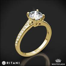 18k Yellow Gold Ritani 1RZ2490 Modern Bypass Micropave Diamond Engagement Ring | Whiteflash