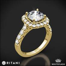 18k Yellow Gold Ritani 1RZ2817 Masterwork Cushion Halo Diamond Engagement Ring | Whiteflash