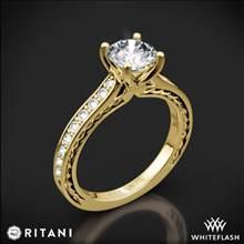 18k Yellow Gold Ritani 1RZ2830 Micropave Braided Diamond Engagement Ring | Whiteflash