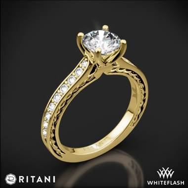 18k Yellow Gold Ritani 1RZ2830 Micropave Braided Diamond Engagement Ring