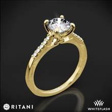 18k Yellow Gold Ritani 1RZ2841 Modern French-Set Diamond Engagement Ring | Whiteflash