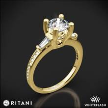 18k Yellow Gold Ritani 1RZ3051 Tapered Baguette Three Stone Engagement Ring | Whiteflash