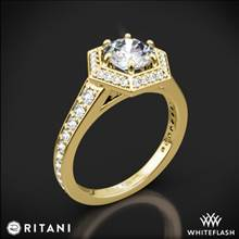18k Yellow Gold Ritani 1RZ3105 Vintage Hexagonal Halo Vaulted Diamond Engagement Ring | Whiteflash