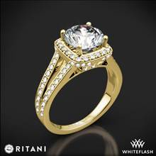 18k Yellow Gold Ritani 1RZ3152 Masterwork Cushion Halo 'V' Diamond Engagement Ring | Whiteflash