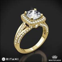 18k Yellow Gold Ritani 1RZ3154 Masterwork Cushion Halo Vaulted Milgrain Diamond Engagement Ring | Whiteflash