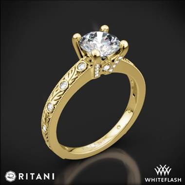 18k Yellow Gold Ritani 1RZ3614 Grecian Leaf Diamond Engagement Ring