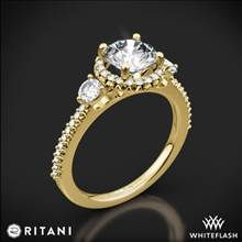 18k Yellow Gold Ritani 1RZ3701 Halo Three Stone Engagement Ring | Whiteflash