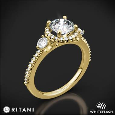 18k Yellow Gold Ritani 1RZ3701 Halo Three Stone Engagement Ring