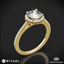 18k Yellow Gold Ritani 1RZ3702 French-Set Halo Diamond Engagement Ring | Whiteflash