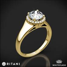 18k Yellow Gold Ritani 1RZ3728 French-Set Halo Tapered Band Solitaire Engagement Ring | Whiteflash