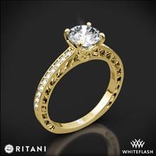 18k Yellow Gold Ritani 1RZ4170 Lattice Micropave Diamond Engagement Ring | Whiteflash