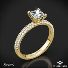 18k Yellow Gold Simon G. LP1935-D Delicate Diamond Engagement Ring for Princess | Whiteflash