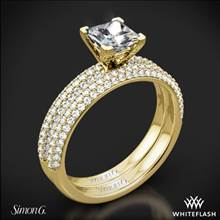 18k Yellow Gold Simon G. LP1935-D Delicate Diamond Wedding Set for Princess | Whiteflash