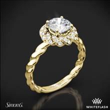18k Yellow Gold Simon G. LR1133 Classic Romance Halo Diamond Engagement Ring | Whiteflash