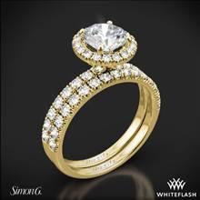 18k Yellow Gold Simon G. MR1811 Passion Halo Diamond Wedding Set | Whiteflash
