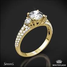 18k Yellow Gold Simon G. MR2208 Caviar Three Stone Engagement Ring | Whiteflash