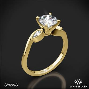 18k Yellow Gold Simon G. MR2342 Dutchess Three Stone Engagement Ring