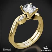 18k Yellow Gold Simon G. MR2342 Dutchess Three Stone Wedding Set | Whiteflash