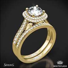 18k Yellow Gold Simon G. MR2395 Passion Halo Diamond Wedding Set | Whiteflash