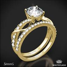 18k Yellow Gold Simon G. MR2526 Fabled Crisscross Diamond Wedding Set | Whiteflash