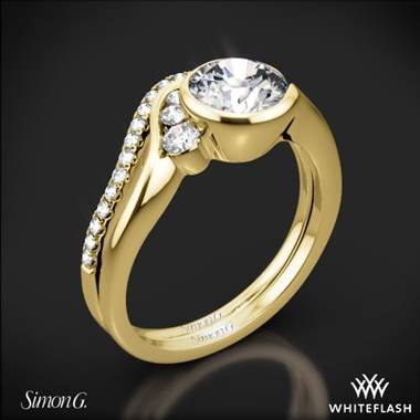 18k Yellow Gold Simon G. MR2549 Fabled Bezel Solitaire Wedding Set