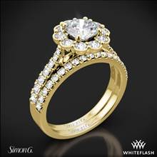 18k Yellow Gold Simon G. MR2573 Passion Halo Diamond Wedding Set | Whiteflash