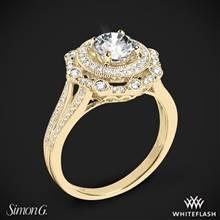 18k Yellow Gold Simon G. NR525 Vintage Explorer Halo Diamond Engagement Ring | Whiteflash