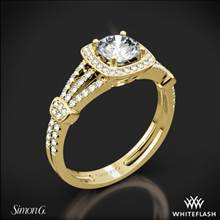 18k Yellow Gold Simon G. TR418-D Delicate Halo Diamond Engagement Ring | Whiteflash