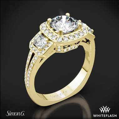18k Yellow Gold Simon G. TR446 Passion Halo Three Stone Engagement Ring