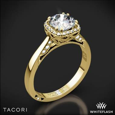 18k Yellow Gold Tacori 2620RD Dantela Crown Solitaire Engagement Ring for 0.75ct center
