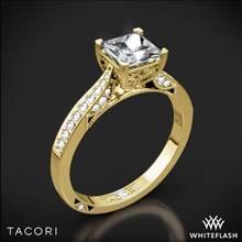 18k Yellow Gold Tacori 2638PRP Dantela Crescent Motif Pave for Princess Diamond Engagement Ring | Whiteflash