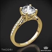 18k Yellow Gold Tacori 2638RDP Dantela Crescent Motif Pave Diamond Engagement Ring for 1ct Center | Whiteflash