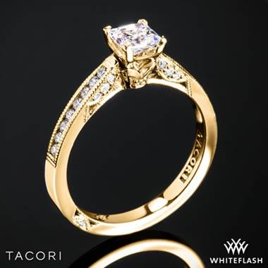 18k Yellow Gold Tacori 3003 Simply Tacori Diamond Engagement Ring for Princess with 0.50ct Diamond Center