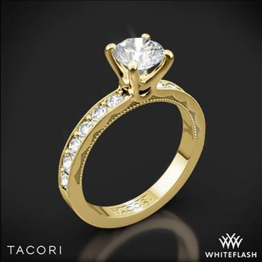 18k Yellow Gold Tacori 41-3RD Sculpted Crescent Lace Diamond Engagement Ring