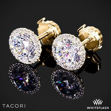 18k Yellow Gold Tacori FE 670 7.5 Diamond Earrings to Hold 3ctw - Settings Only