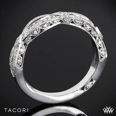 18k Yellow Gold Tacori HT2528B Ribbon Half Eternity Diamond Wedding Ring
