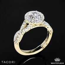 18k Yellow Gold Tacori HT2549 Petite Crescent Twisted Diamond Halo Engagement Ring | Whiteflash