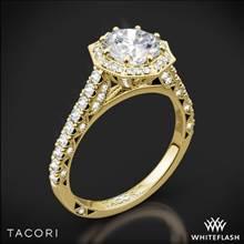 18k Yellow Gold Tacori HT2555RD Petite Crescent Halo Diamond Engagement Ring | Whiteflash