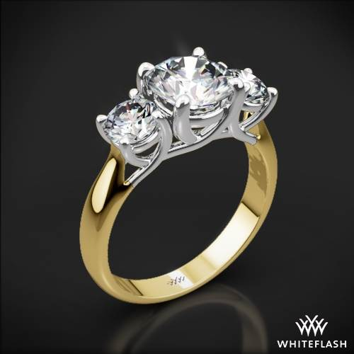 18k Yellow Gold Trellis 3 Stone Engagement Ring with White Gold Head (0.50ctw ACA side stones included)