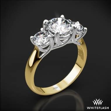 18k Yellow Gold Trellis 3 Stone Engagement Ring With White