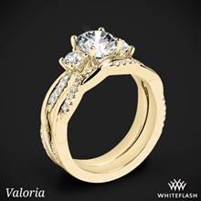 18k Yellow Gold Valoria Flora Twist Three Stone Diamond Wedding Set | Whiteflash