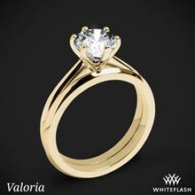 18k Yellow Gold Valoria Petite Six Prong Solitaire Wedding Set | Whiteflash