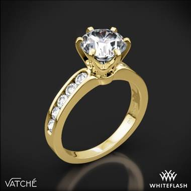 18k Yellow Gold Vatche 1020 6-Prong Channel Diamond Engagement Ring