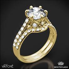 18k Yellow Gold Vatche 1054 Swan French Pave Diamond Wedding Set | Whiteflash
