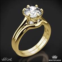 18k Yellow Gold Vatche 191 Swan Solitaire Wedding Set | Whiteflash